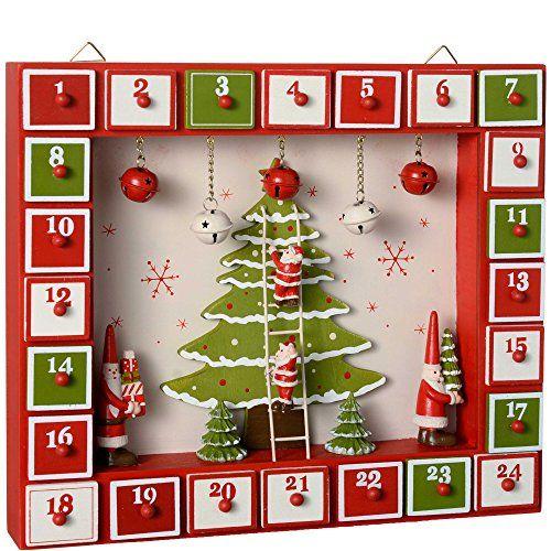 37/cm Rouge WeRChristmas D/écoration en Bois en Calendrier de lAvent Maison D/écoration de No/ël