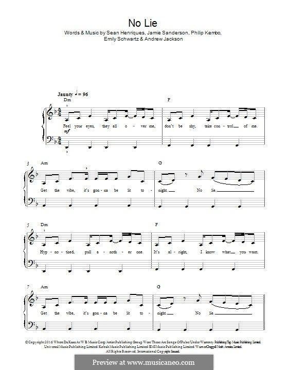 No Lie Feat Dua Lipa By S P Henriques J Sanderson E Schwartz A Jackson P Kembo On Musicaneo Lipa Lie Andrew Jackson