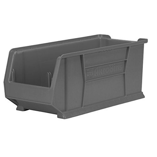 Akro Mils 30287grey Super Size Plastic Stacking Storage 24 Inch X 11 Inch X 10 Inch Grey Case Of 4 Storage Stacking Bins Bins