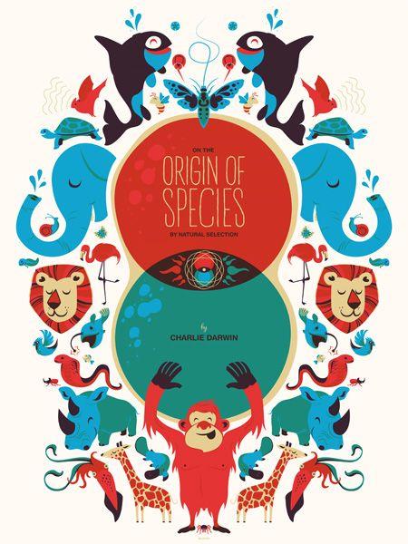 Origin of Species Charles Darwin kids room screen print poster