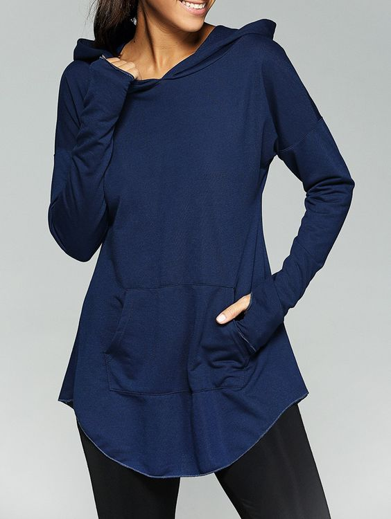 Front Pocket Thumb Hole Loose-Fitting Hoodie