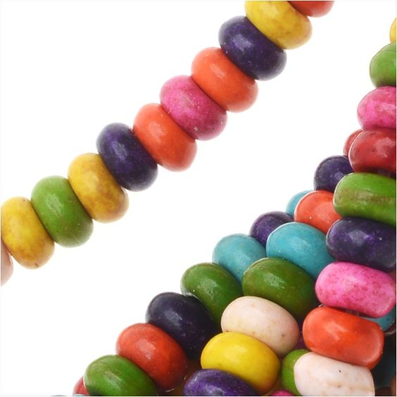 Dyed Magnesite Gem Beads, Rondelles 2.5x4.5mm, 15 Inch Strand, Multi Color, Grey