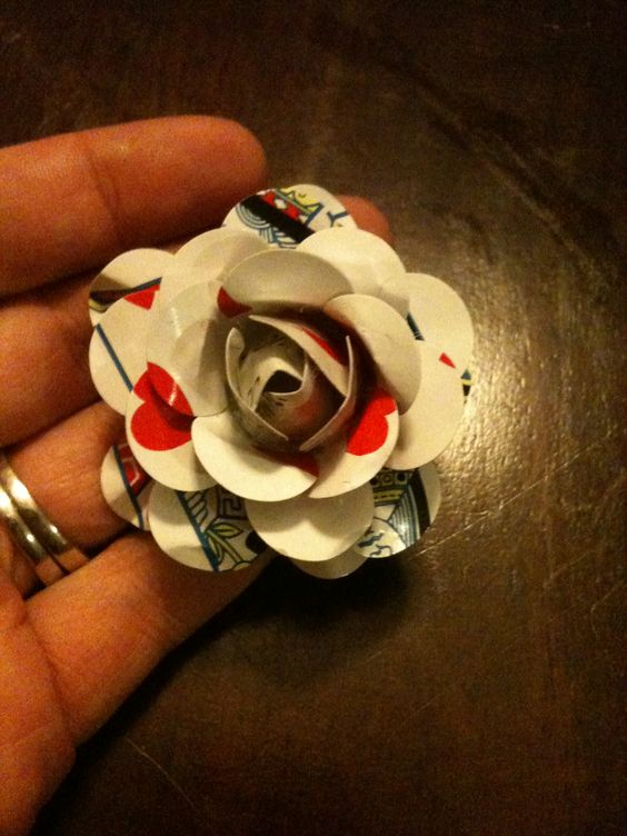 Playing card rose, lots of paper flowers out there, so here's one more.