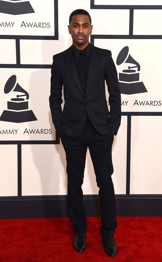 Big Sean from Best Dressed Men at the 2015 Grammys...Ariana Grande's boyfriend looked sharper than ever in a dark St. Laurent ensemble.
