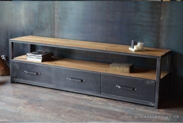 Micheli Design Tables Et Meubles De Style Industriel Meuble Tv Industriel Mobilier De Salon Meuble De Style