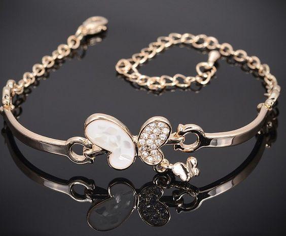 Корейский металл браслет ювелирные изделия 18 K золото кристалл бабочка браслеты и браслеты женщины подвески браслет аксессуары.