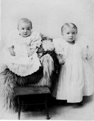 This darling picture is of my late husband's father on the left and his older sister as little babies.  I love this picture.
