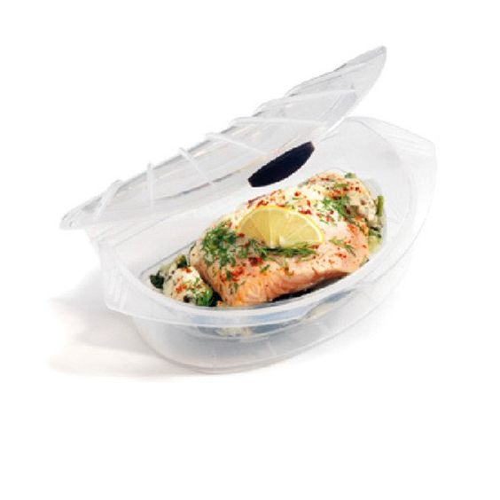 The Microwave Cooking Steamer allows you to prepare a variety of foods in a matter of minutes. It's shell shaped lid circulates and locks in steam for the best cooking results, while it's drip tray collects excess oil and water. The steamer is ideal for cooking fish, pasta and vegetables. Microwave, oven, freezer, and dishwasher safe.