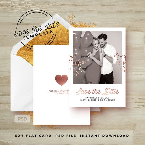 Save The Date Card Template - Rose Gold Wedding Announcement