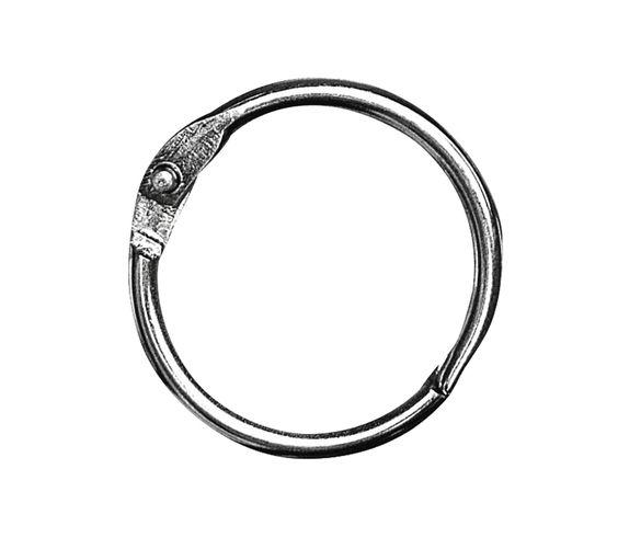Clickringen   Stevige ringen om losse bladen of hoezen samen   te binden. De ringen zijn van verchroomd metaal,   nikkelvrij en makkelijk te openen en te sluiten.   Leverbaar in de maten 25mm, 30mm, 35mm en 45mm.  Per zakje met 12 stuks.