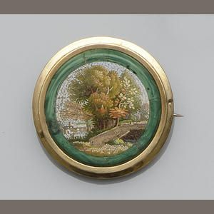 A micro-mosaic brooch with landscape scene