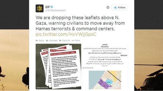 IDF tweet: Both sides are broadcasting warnings to each other via social media channels: