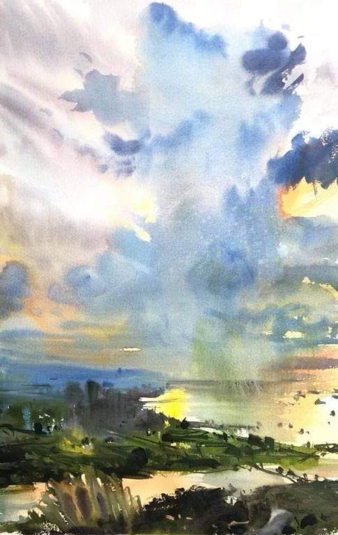 Sunset Watercolor By Uma Kelkar Watercolor Sunset Landscape Pictures Watercolour Inspiration