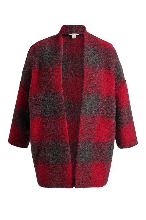 Chaqueta de invierno de tela escocesa en rojo y gris