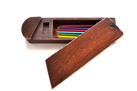 Vintage Wooden Pencil Case Desk Storage