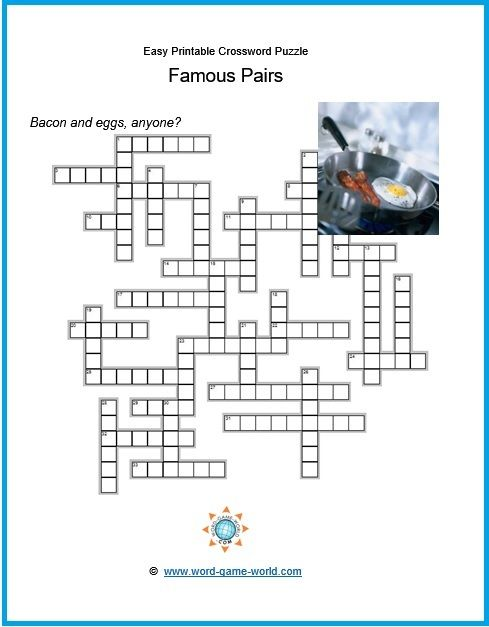 It is a graphic of Simple Crossword Puzzles Printable with basic