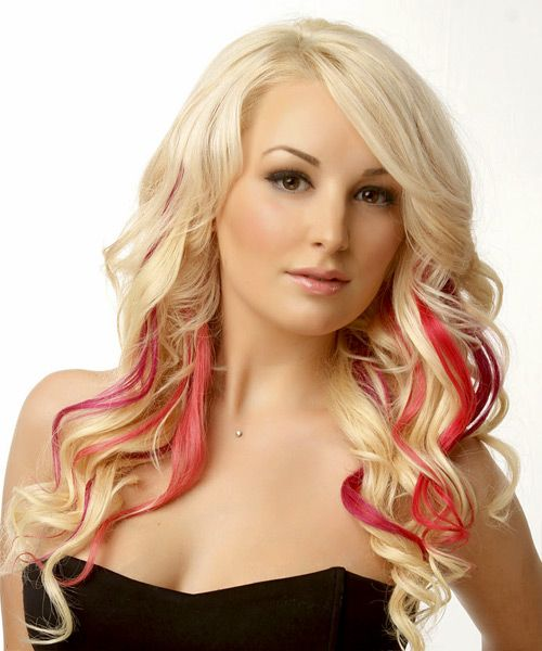 pink streaks in blonde and brown hair | with this ...