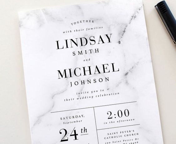 This classic and modern design combines a marble texture with classic, modern typography. The design is completely customizable to match any wedding style. You can change the wording, color, size and information. *Envelope liner not included ------------------------ PRINTED SUITES The default listing price is for 1 premium invitation suite that includes: • 1 single-sided 5x7 invitation • 1 Euro flap A7 blank envelope • 1 single-sided 3.5x5 RSVP card • 1 Euro flap 4bar blank envelope T...