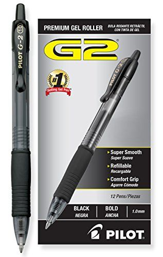 Pilot G2 Retractable Premium Gel Ink Roller Ball Pens, Bold Point, Black Ink, Dozen Box (31256) Pilot http://www.amazon.com/dp/B001E6D3W6/ref=cm_sw_r_pi_dp_ZWzzwb1EA3YK8: