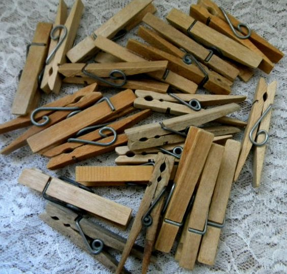24  Vintage Wood Clip Clothespins  Spring by OldFoundTreasures, $4.99