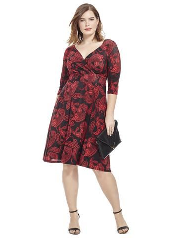 Plus Size IGIGI Alex Dress In Paisley Red