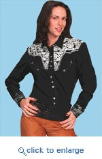 Scully Ladies Retro Embroidered Western Shirt