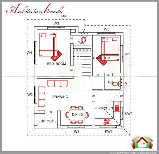 2 Bedroom House Estimate Cost Under 15 Lakhs Architecture Kerala 2 Bedroom House Plans Bedroom House Plans House Plans