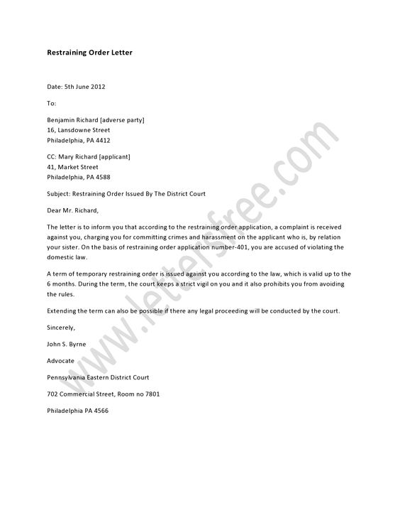 A restraining order letter deals with some serious issue and it - debit note letter