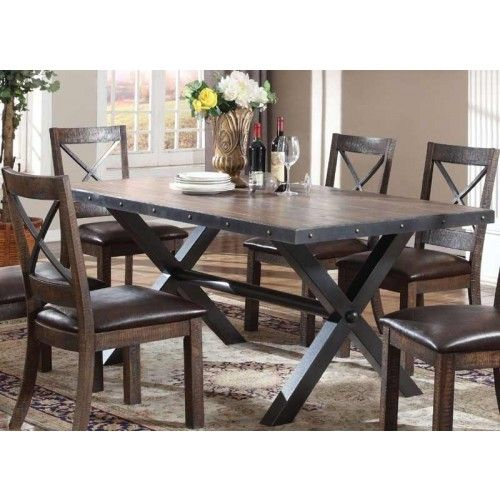Acme Furniture Earvin Weathered Oak Dining Table 72230
