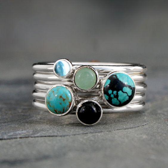 Handmade Sterling Silver Turquoise Gemstone Stacking Rings , December Birthstones Jewelry Gift for World Traveler