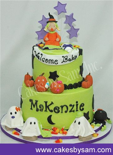 halloween themed baby shower cake