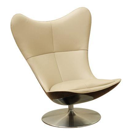Glove Tilt & Swivel Chair in Cream Leather