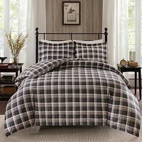 3 Piece Brown White Plaid Queen Comforter Set Tartan Madras