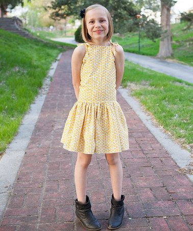 Yellow Daisy Sunnie Tie Dress - Infant, Toddler & Girls by KALMcollection #zulily #zulilyfinds