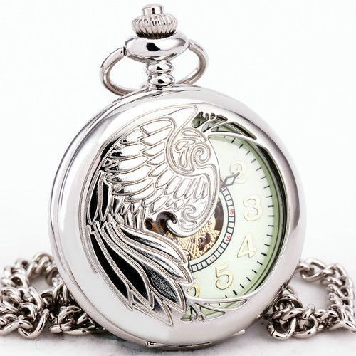 Angel Wing Hollowed Copper Mechanical Pocket Watch