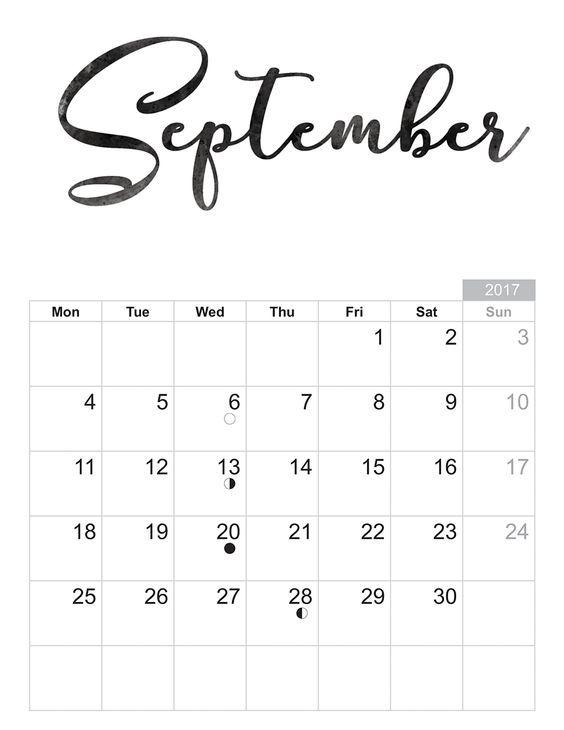 Kalender 2017 September : kalender, september, September, Calendar, Printables,, Printable, Calendar,
