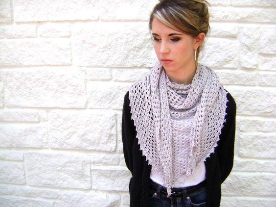 (4) Nome: 'Crocheting: Easy triângulo xale ou cachecol