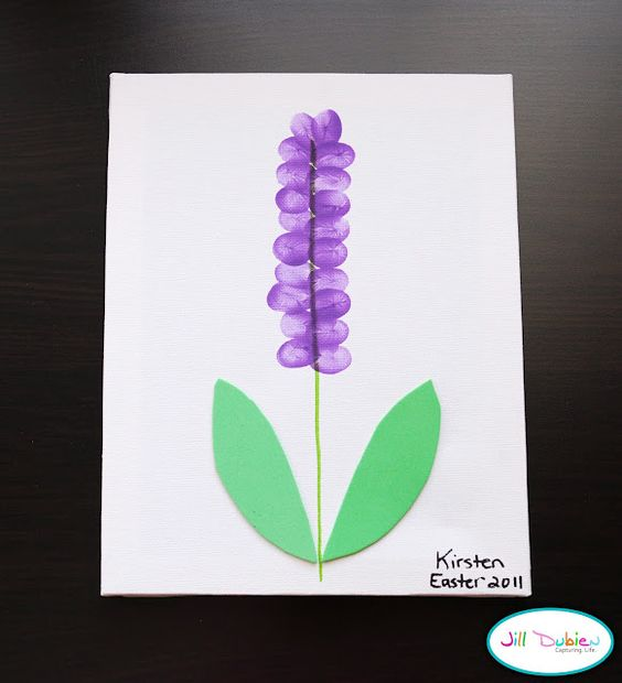 Thumbprint Flower craft. Just in time for spring. Let's make this a bluebonnet!