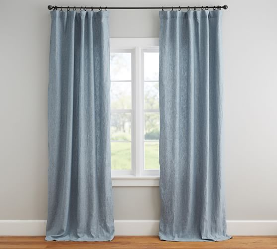Classic Belgian Flax Linen Blackout Curtain Blue Chambray With