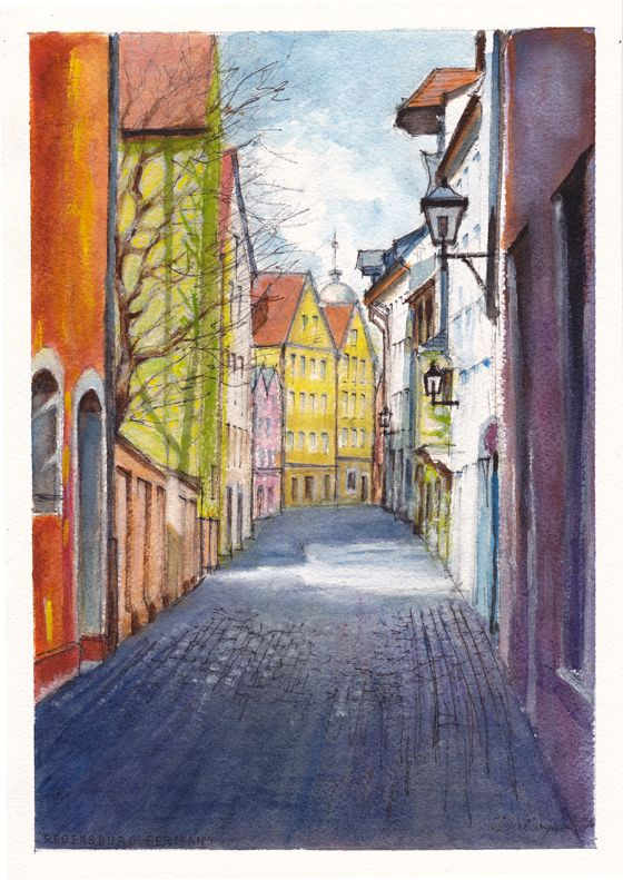 Afternoon Spring sunlight slants between tall, coloured houses in a narrow cobbled alley of Regensburg, Germany. Pencil, ink and watercolour painting by Dai Wynn on 300 gsm smooth surface Arches french cotton paper. 29.5 cm high by 21 cm wide (11.75 inches by 8.25 inches) approximately - A4 standard size.  Available for sale at $350. To buy the original painting, visit www.daiwynn.com.