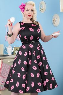 The Sweet Pink Lips on Black Hepburn. Available in Sizes 8-28. Made in London. £50