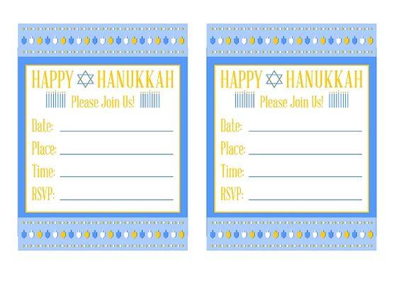 Free Hanukkah printable party invitations #hanukkah #invitations