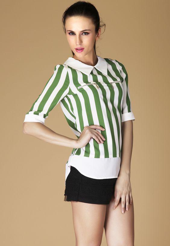 Green White Vertical Stripe Lapel Zipper Blouse