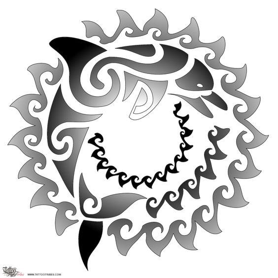 Tatuaggio di Sole e delfino, Gioia, positività tattoo - TattooTribes.com