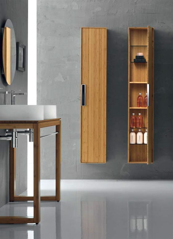 pour les colonnes meubles salle de bains en bambou gamme. Black Bedroom Furniture Sets. Home Design Ideas