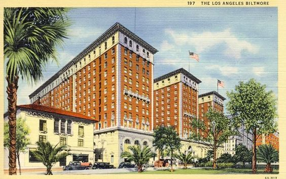 Postcard of the Biltmore Hotel in downtown L.A.