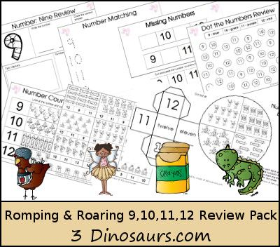 Romping & Roaring Number 9, 10, 11, 12 Review Pack Set 2 with the following themes: - 35 pages of activities to review the numbers 9: little red hen, 10: Fairy, 11: crayons, 12: Pets - 3Dinosaurs.com