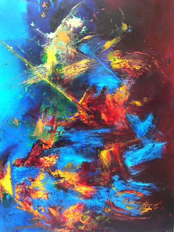 Peinture art abstrait technique acrylique vitrail glyc ro p b o fantasy prisme moon - Peinture glycero ou acrylique ...