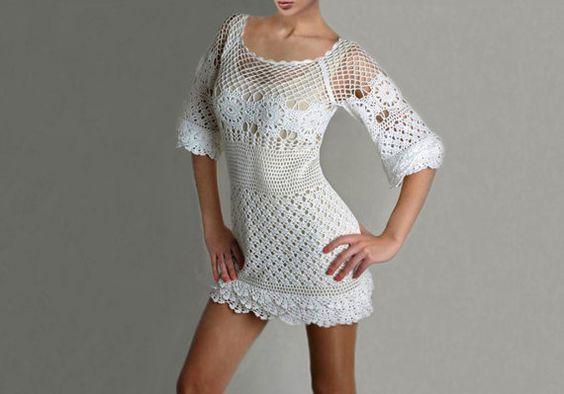 Crochet dress PATTERN, trendy cocktail dress, crochet wedding dress, crochet party dress PATTERN, detailed written description in English.