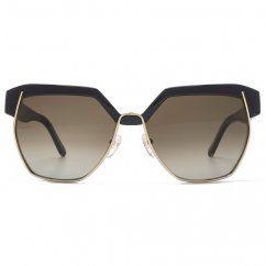 Chloe Geometric Metal Mix Sunglasses in Black
